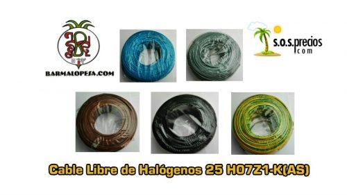 Cable Libre de Halógenos 25 H07Z1-K(AS)