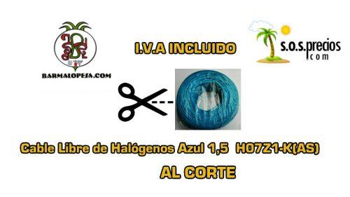 Cable Libre de Halógenos al corte azul 1,5 H07Z1-K(AS)