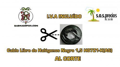 Cable Libre de Halógenos al corte negro 1,5 H07Z1-K(AS)