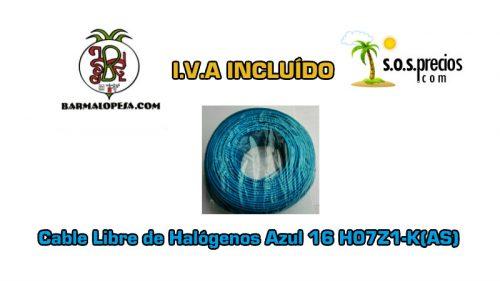Cable Libre de Halógenos azul 16 H07Z1-K(AS)
